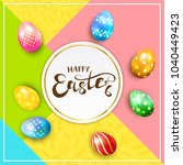 multicolored easter eggs on... | Shutterstock . vector #1040449423