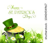 cauldron with green hat and...   Shutterstock . vector #1040454967