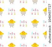 easter chickens eggs vector... | Shutterstock .eps vector #1040457727