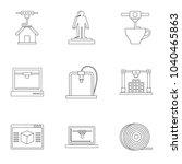 3d printer construct icon set....
