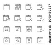 calendar outline icons set | Shutterstock .eps vector #1040491387