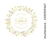 vector hand drawn floral round... | Shutterstock .eps vector #1040505367