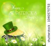 green hat and cauldron with...   Shutterstock .eps vector #1040575753