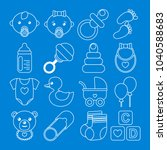 set of white baby icons in line ... | Shutterstock .eps vector #1040588683