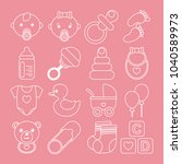 set of white baby icons in line ... | Shutterstock .eps vector #1040589973