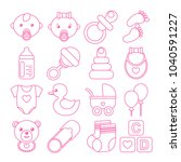 set of pink baby icons in line... | Shutterstock .eps vector #1040591227
