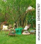 modern garden and living area... | Shutterstock . vector #1040592787