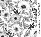 hand drawn elegant pattern with ... | Shutterstock .eps vector #1040607967