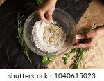 women's hands mixing dough with ...   Shutterstock . vector #1040615023