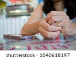 woman broken heart with ring.... | Shutterstock . vector #1040618197