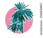 tropical coconut palm trees.... | Shutterstock .eps vector #1040630857