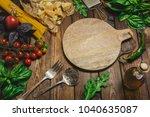 pasta background. dry spaghetti ... | Shutterstock . vector #1040635087