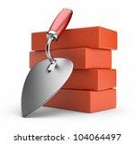trowel and bricks. work place.... | Shutterstock . vector #104064497