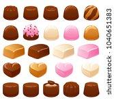 chocolate candies set. assorted ... | Shutterstock .eps vector #1040651383