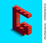 realistic red 3d isometric... | Shutterstock .eps vector #1040656513