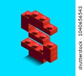 realistic red 3d isometric... | Shutterstock .eps vector #1040656543