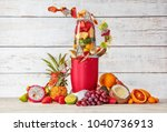 smoothie maker mixer with fruit ... | Shutterstock . vector #1040736913