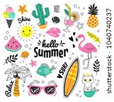 hello summer collection. vector ... | Shutterstock .eps vector #1040740237