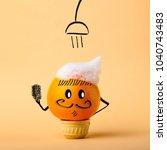 clean fruit orange in pastel... | Shutterstock . vector #1040743483