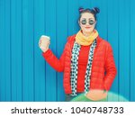 beautiful fashion hipster woman ... | Shutterstock . vector #1040748733