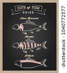 chalkboard with cuts of fish... | Shutterstock .eps vector #1040772577