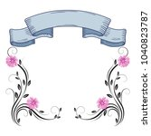 decorative floral frame of... | Shutterstock .eps vector #1040823787