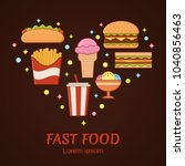 fast food icons in heart... | Shutterstock .eps vector #1040856463
