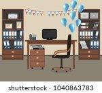 workplace of an office worker ... | Shutterstock .eps vector #1040863783