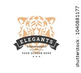 tiger hand drawn logo isolated... | Shutterstock .eps vector #1040881177