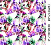 seamless pattern with wild... | Shutterstock . vector #1040886067