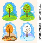 4 seasons  vector illustration. ... | Shutterstock .eps vector #1040896663
