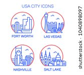 usa city icons. vector... | Shutterstock .eps vector #1040898097