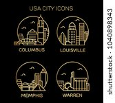 usa city icons. vector... | Shutterstock .eps vector #1040898343
