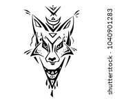 tribal pattern fox. polynesian... | Shutterstock .eps vector #1040901283