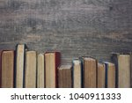 old vintage book spines in a... | Shutterstock . vector #1040911333