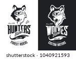 vintage wolf custom motors club ... | Shutterstock .eps vector #1040921593