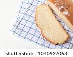 fresh home made bread on white... | Shutterstock . vector #1040932063