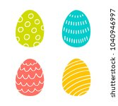 colorful easter eggs hand drawn ... | Shutterstock .eps vector #1040946997