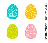 colorful easter eggs hand drawn ... | Shutterstock .eps vector #1040947003