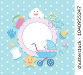 banner template with baby items ... | Shutterstock .eps vector #1040955247
