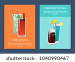 summer party alcohol drinks... | Shutterstock .eps vector #1040990467