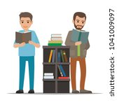 people reading textbooks in... | Shutterstock .eps vector #1041009097