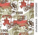 pattern of telephone  retro car ... | Shutterstock .eps vector #1041032683