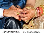 indian couples shows engagement ... | Shutterstock . vector #1041033523