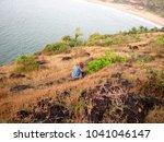 little girl standing on rock | Shutterstock . vector #1041046147