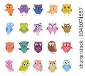 cartoon cute owls set. funny... | Shutterstock .eps vector #1041071557