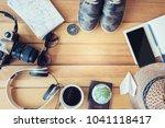 travel accessories trip... | Shutterstock . vector #1041118417