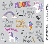 unicorn slogan set isolated on... | Shutterstock .eps vector #1041125983