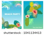 beach party cards set. retro... | Shutterstock .eps vector #1041134413