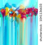 abstract floral oil color... | Shutterstock . vector #1041136633